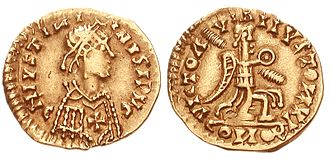 Western Roman Empire - 6th-century Visigothic coin, struck in the name of Emperor Justinian I