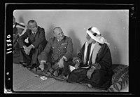 Visit to Beersheba Agricultural Station (Experimental) by Brig. Gen. Allen & staff & talks to Bedouin sheiks of district by station superintendent. General Allan & Sheik 'Abu Sitti' in above LOC matpc.20527.jpg