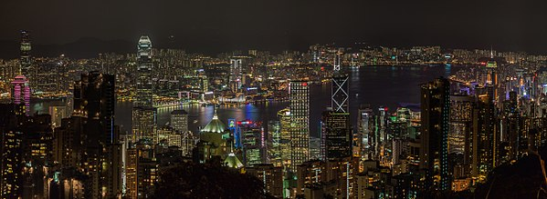 Panoramic view of Victoria Harbour from Victoria Peak, Hong Kong