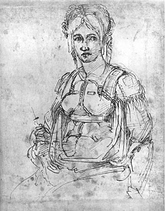 Vittoria Colonna - Vittoria Colonna, drawing by Michelangelo. Colonna is approximately 50 yrs old, and Michelangelo 65 at the time of the drawing as dated.