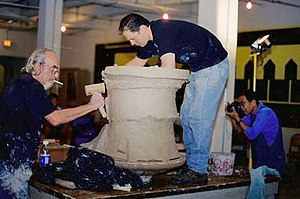 American craft - Peter Voulkos (left) assisted by John Balistreri.