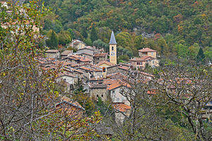 Moulinet, Alpes-Maritimes - A view of the village of Moulinet from the trail of Saint Michel