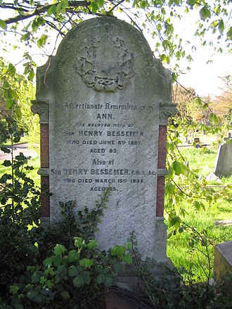 Henry Bessemer - Headstone of Sir Henry Bessemer, West Norwood cemetery