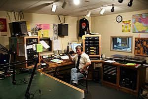 "WORT - John Kraniak at the controls during his show, ""Entertainment"", in WORT's main studio."