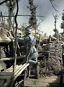 French observer with Adrian helmet in trench, Hirtzbach Woods, Haut-Rhin, France, 1917
