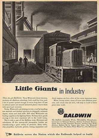 "Geo D. Whitcomb Company - A World War II print advertisement for Baldwin (Whitcomb) ""Little Giant"" switcher locomotives."
