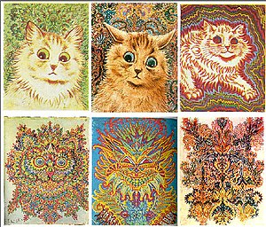 English: 6 paintings of cats by Louis Wain wit...
