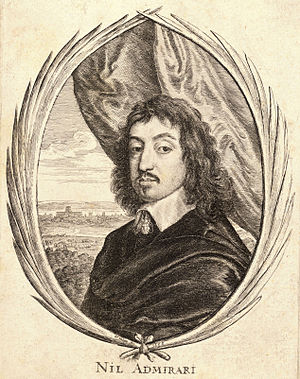 "John Wildman - 1653 engraving of John Wildman by Wenceslas Hollar. The caption reads nil admirari (""astonished at nothing"")"