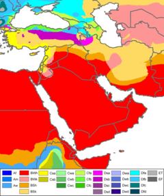 kppen climate classification map of west asia