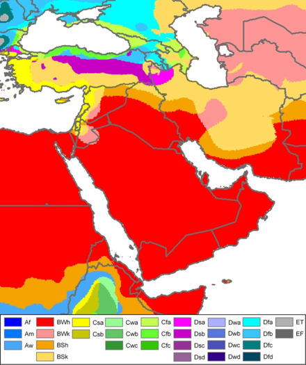 Saudi Arabia's Koppen climate classification map is based on native vegetation, temperature, precipitation and their seasonality.