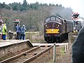 West Coast Railways 37516 diesel locomotive arriving at Worstead Station - geograph.org.uk - 1749000.jpg
