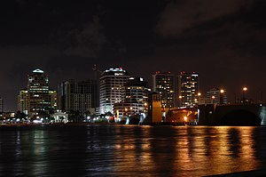 The skyline of West Palm Beach at night, taken...