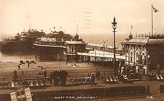 West Pier - The West Pier circa 1920. The pier had gained a new concert hall in 1916, and attracted 2 million visitors between 1918 and 1919.
