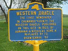 The Western Oracle newspaper first published, 1803 in Chenango County, NY.