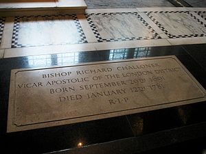 Richard Challoner - Tomb of Bishop Richard Challoner in Westminster Cathedral