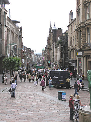 Demography of Scotland - People on Buchanan Street in Glasgow. Scotland's population is getting older as many baby boomers approach retirement.