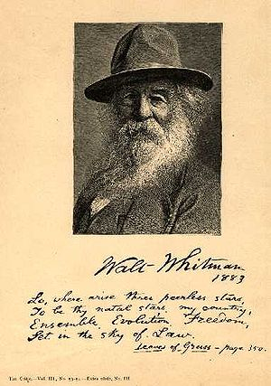 1883 in poetry - Frontispiece of the 1883 edition of Leaves of Grass by Walt Whitman