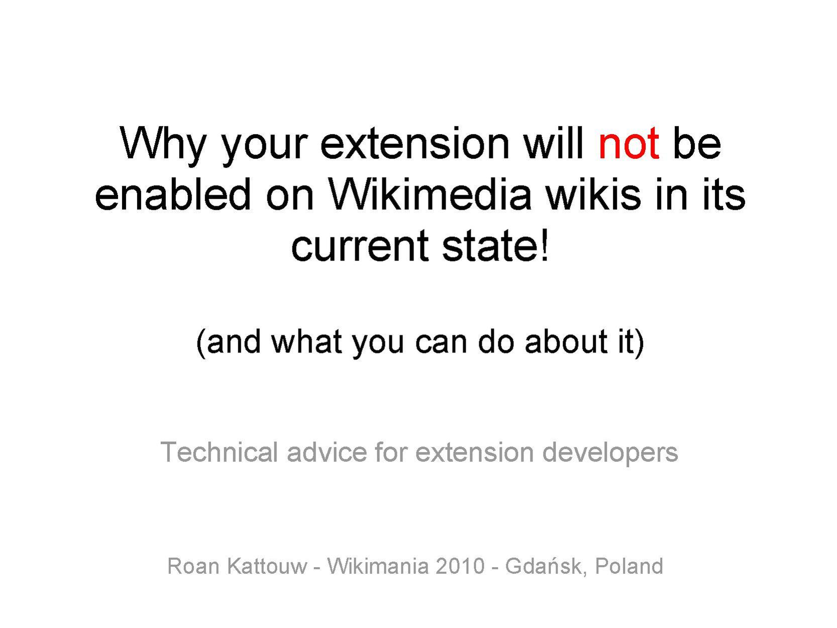 Why your extension will not be enabled on Wikimedia wikis in its current state and what you can do about it.pdf