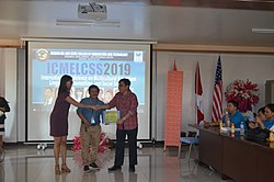 Wikimedians at ICMELCSS2019 awarding of certificates.jpg