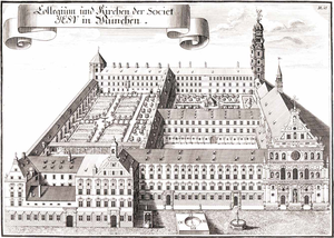 Old Academy (Munich) - The Wilhelminum ca 1700 by Michael Wening