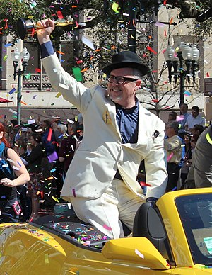 William Joyce (writer) - Joyce in March 2012 holding an Oscar for his short film The Fantastic Flying Books of Mr. Morris Lessmore during a parade in his and Brandon Oldenburg's honor held in downtown Shreveport.