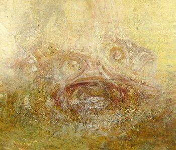 "Detail from Sunrise with Sea Monsters by J.M.W. Turner showing the area associated with the ""monsters"""
