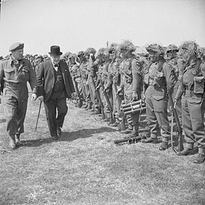 43rd (Wessex) Infantry Division - The British Prime Minister, Winston Churchill, inspects men of the 4th Battalion, Somerset Light Infantry during a tour of forces preparing to invade Normandy, 12 May 1944.