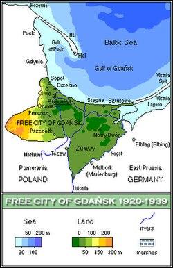Geografisk placering af Fristaden Danzig (Gdańsk)