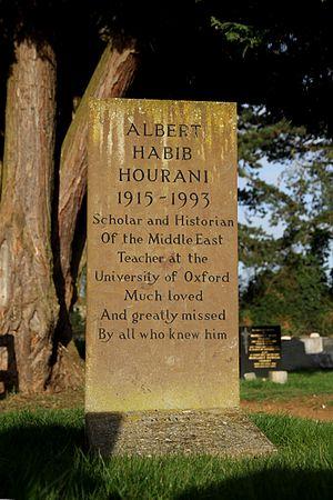 Albert Hourani - Hourani's headstone in Wolvercote Cemetery, Oxford