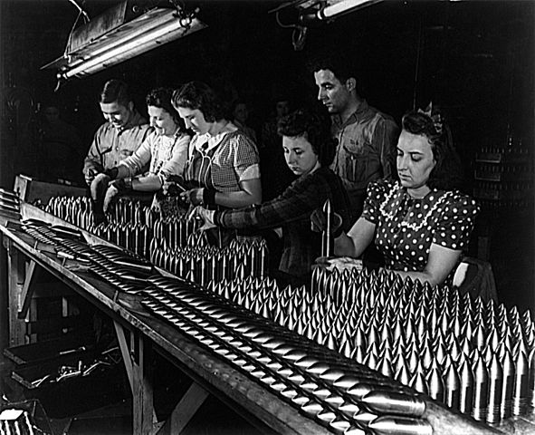 Women at work in an aluminum factory making ammunition, 1942