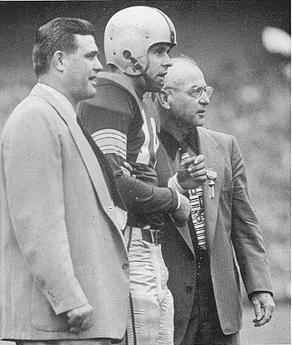 Woody Hayes - Hayes with fullback Dick Doyle and assistant coach Ernie Godfrey, 1952