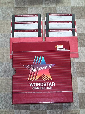 WordStar - Distribution  5 1/4 inch diskettes and packaging for the last version  (Version 4) of WordStar released for 8-bit CP/M.
