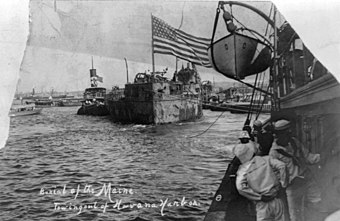 wreck of uss maine being towed out of havana harbor - 1913-03-16