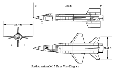 Orthographically projected diagram of the North American X-15.