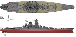 Two schematic depictions of a battleship; one from overhead and the other from the side. Three main gun turrets, each mounting three guns, are situated two to the fore and one to the rear of the ship's tall superstructure and swept back single funnel. Numerous smaller anti-aircraft guns surround the superstructure and are distributed across the deck, with some even mounted on top of the main turrets. The ship's float plane is also shown, tiny in comparison to its parent vessel.