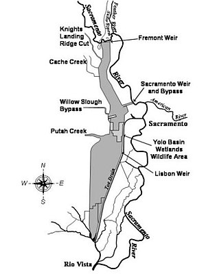 Yolo Bypass - The California Department of Water Resources's schematic map of the Yolo Bypass, 2009.