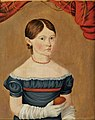 Young Girl in Blue Dress Holding an Egg c 1825 by Sheldon Peck.jpg