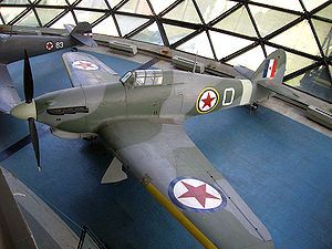 1st Fighter Regiment (Yugoslavia) - Hawker Hurricane Mk IVRP of No. 351 Squadron RAF, Museum of Aviation in Belgrade, Belgrade, Serbia, used by the 1st Fighter Regiment for its short existence.