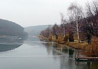 Zalacsány, view of the lake in winter 2008.jpg