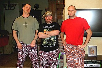 Zubaz - Enthusiasts wearing Zubaz brand pants at the 2008 Zubaz fan club barbecue in Choctaw, Oklahoma.