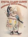 """Evetta the Only Lady Clown"" Josephine Mathews in the Barnum & Bailey Circus 1895.jpg"