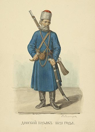 Don Cossacks - A Cossack from Don area 1821. An illustration from Fyodor Solntsev, 1869