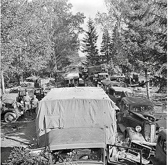 Battle of Porlampi - Soviet equipment abandoned after the encirclement at Porlampi