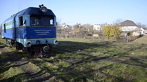 Файл:ТU2-034 coupling with train, Irshava station.webm
