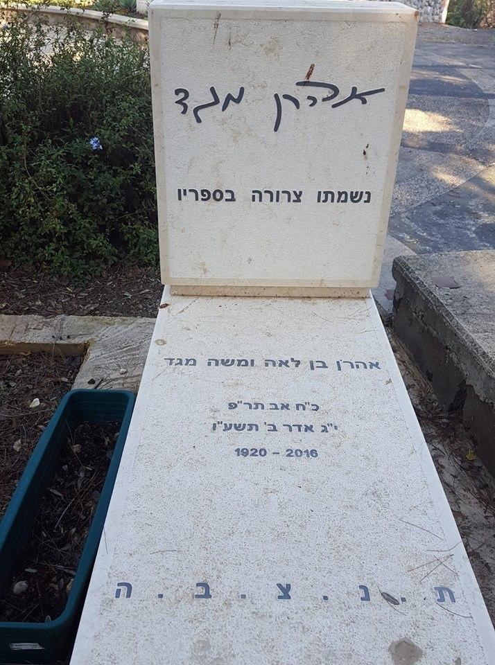 קבר הסופר אהרון מגד בבית הקברות כנרת. צילום אלי אלון