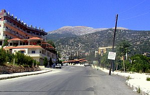 Syria–Turkey border - The Syrian town of Kessab, with the peak of Mount Aqra (Turkey) seen in the background