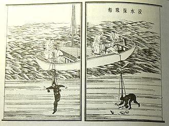 Pearl hunting - Woodblock illustration of a Chinese pearl-diving boat, Song Yingxing's 1637 Tiangong Kaiwu encyclopedia of technology