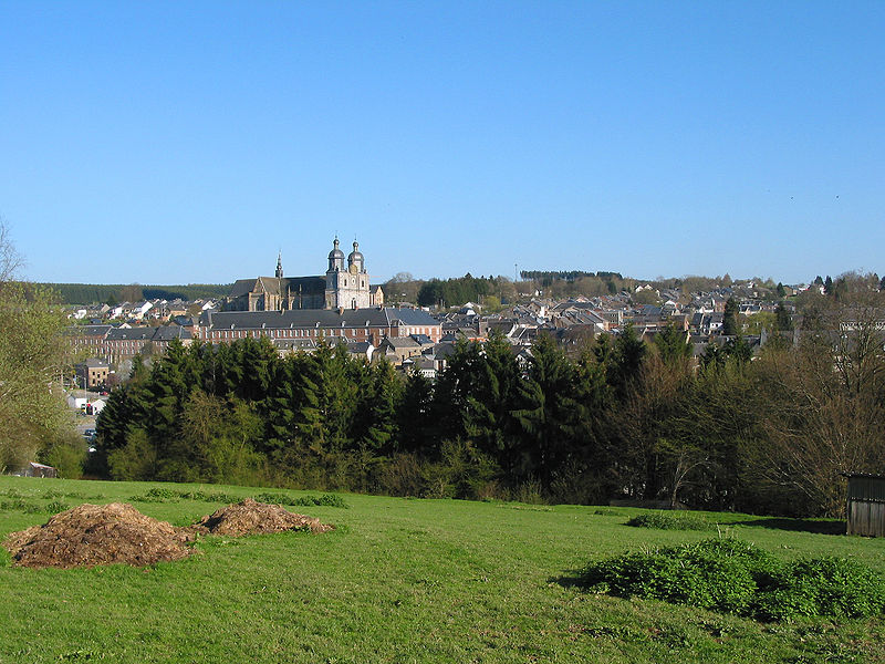 Saint-Hubert, Belgium , view on the city, the abbey (18th century) and the Saint-Hubert or Saints Peter and Paul abbey church (16th-18th centuries).
