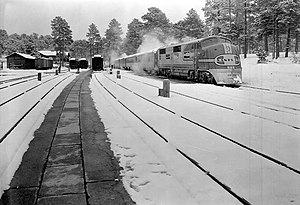 Grand Canyon Railway - Grand Canyon Historic Railroad Depot, Winter 1938