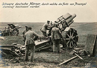 Gorlice–Tarnów Offensive - German heavy siege mortars at Przemyśl.